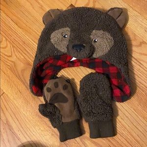 Baby gap bear hat and kitten set